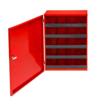 ADB Kleinteile Regal H700xB500xT167 mm 20 Fächer rot RAL 3020 inkl. Tür – Bild 2