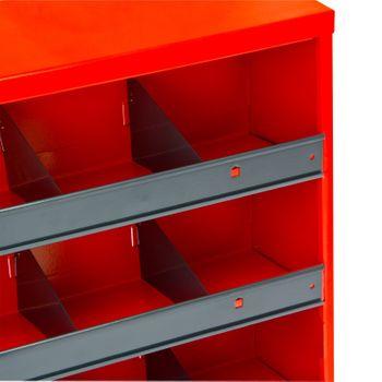 ADB Kleinteile Regal H700xB500xT167 mm 20 Fächer rot RAL 3020 inkl. GlasTür – Bild 4