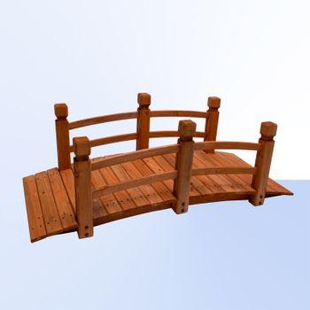 Holz Gartenbrücke Natur 148 cm – Bild 1