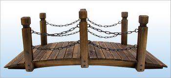 Rustikale Holz Gartenbrücke 148 cm – Bild 2