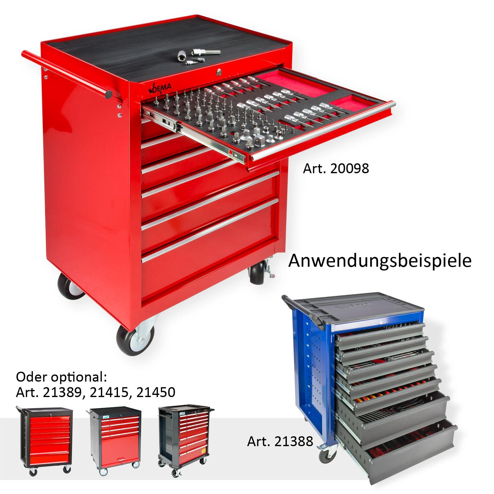 und Steckschlüssel Satz 87tlg für Werkstattwagen Werkstattmodul Einleger Bit