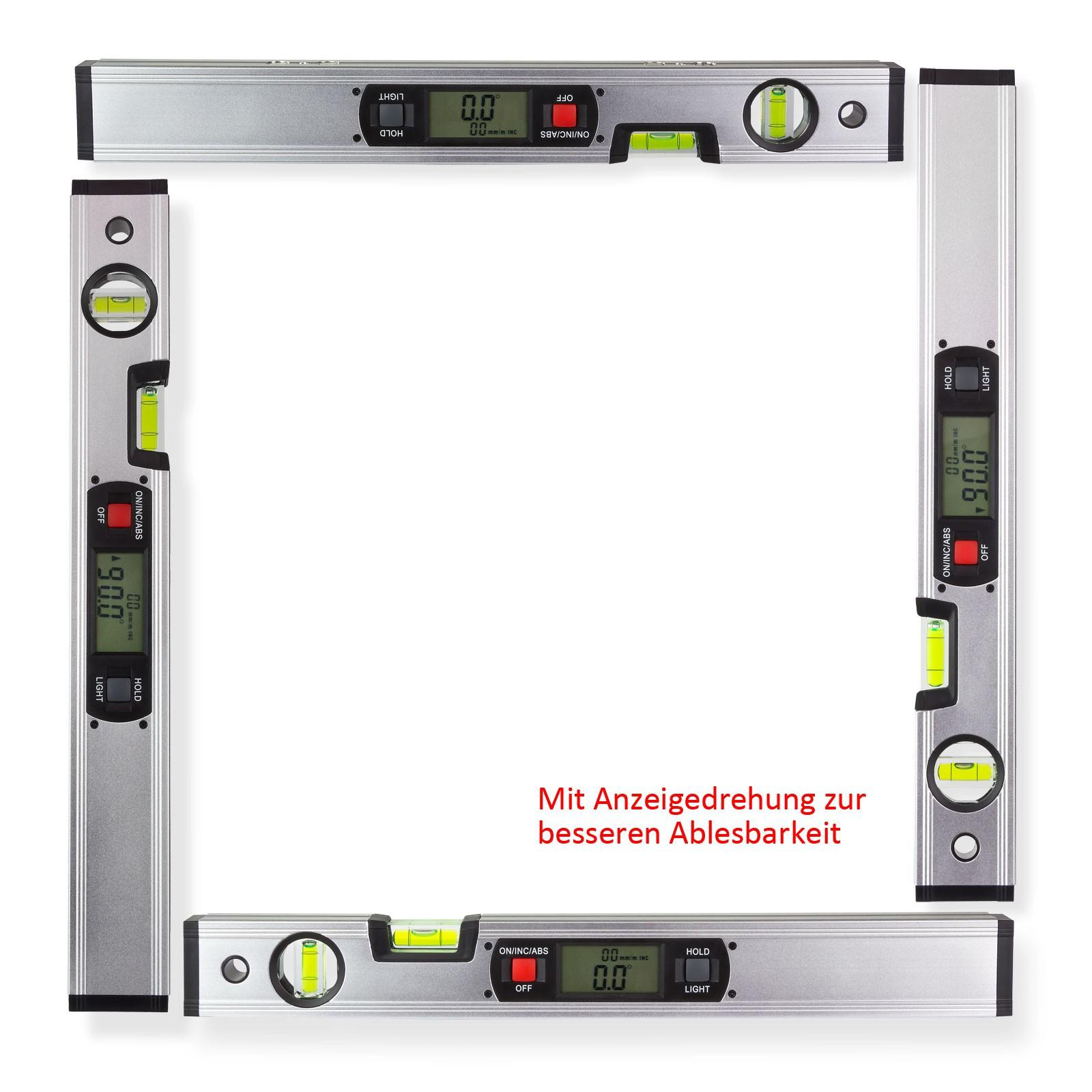 aluminium digitale elektronische wasserwaage mit magnet winkelmesser 40 cm 4031765206372 ebay. Black Bedroom Furniture Sets. Home Design Ideas