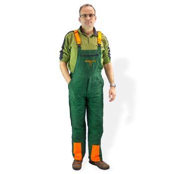 Schnittschutzhose ECO Gr. S M L XL XXL XXXL grün orange – Bild 2