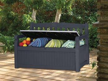 Keter 6025 Garden Bench, Auflagen und Universalbox mit Sitzfunktion, anthrazit – Bild 2