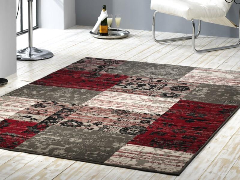 Design teppich  Velours Design Teppich Planta Patchwork rot / grau Teppiche ...