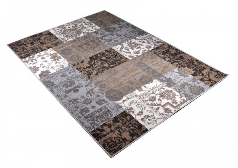 Velours Design Teppich Paradise Patchwork Grau Braun Teppich Boss