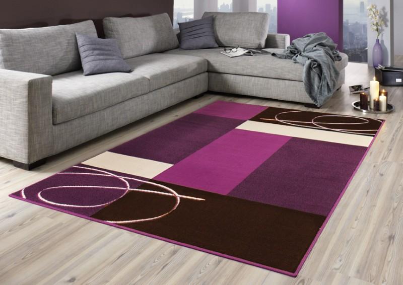 Teppich grau lila  Designer Teppich Tony   Kurzflor in terracotta, beige, lila, grün ...