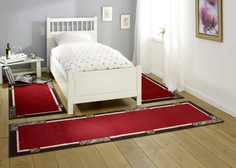 Design Bettumrandung Alana | Kurzflor Teppich Rot/Grau