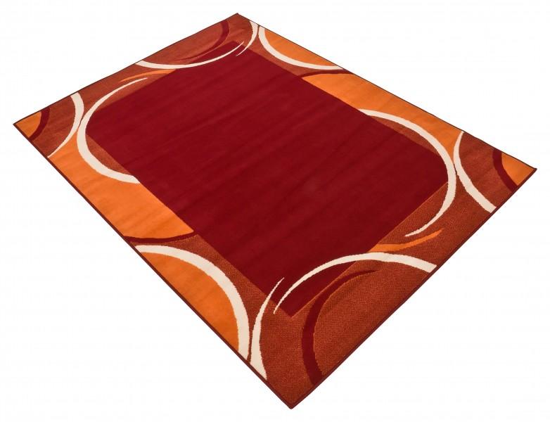 Velours Design Kurzflor Teppich Bordure Muster In Braun Beige