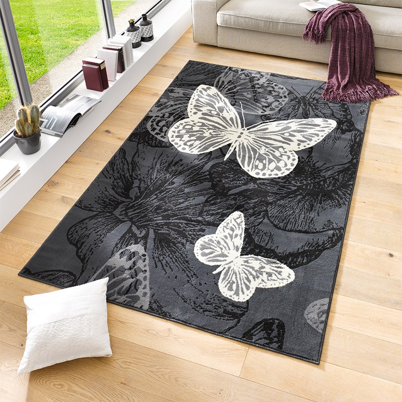 Velours Design Teppich New Butterfly Kurzflor Schmetterling