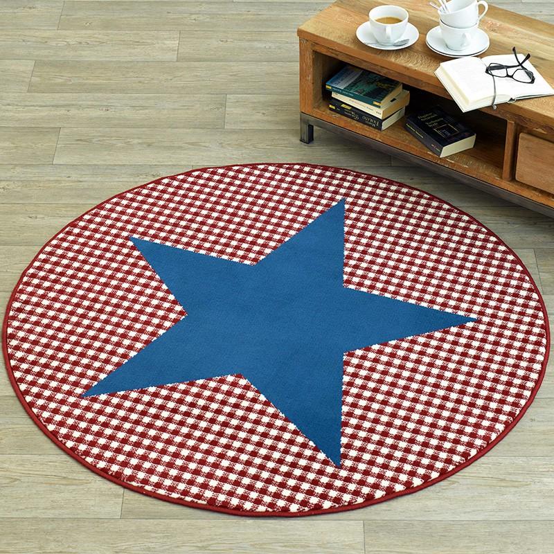 Design Velours Teppich Stern Karo Rund Blau Rot 140 Cm | 102320