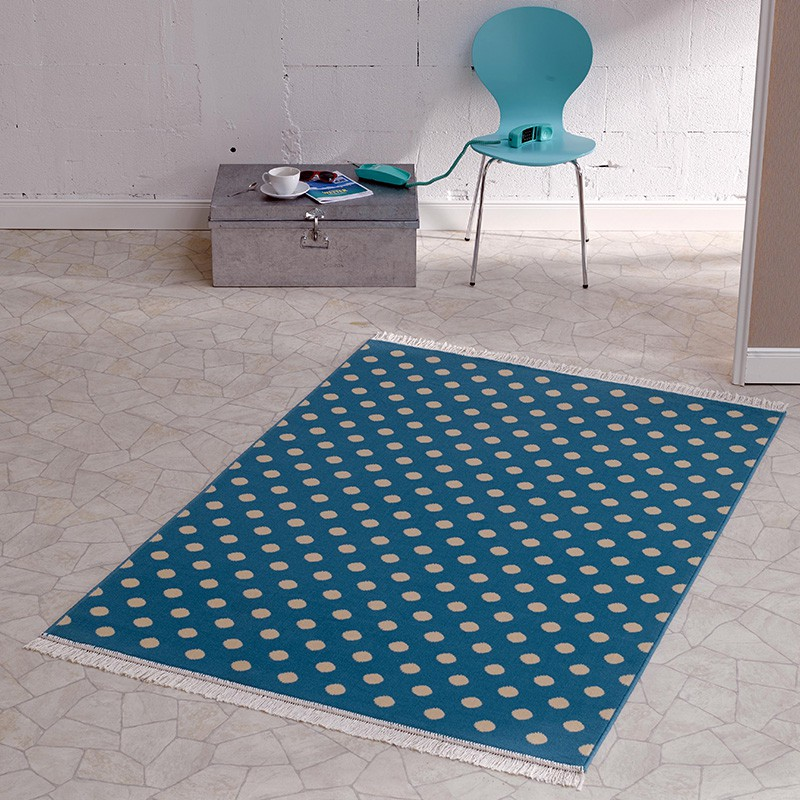 design velours teppich polka dot mit fransen 140x200 cm blau creme 102354 teppichboss webshop. Black Bedroom Furniture Sets. Home Design Ideas