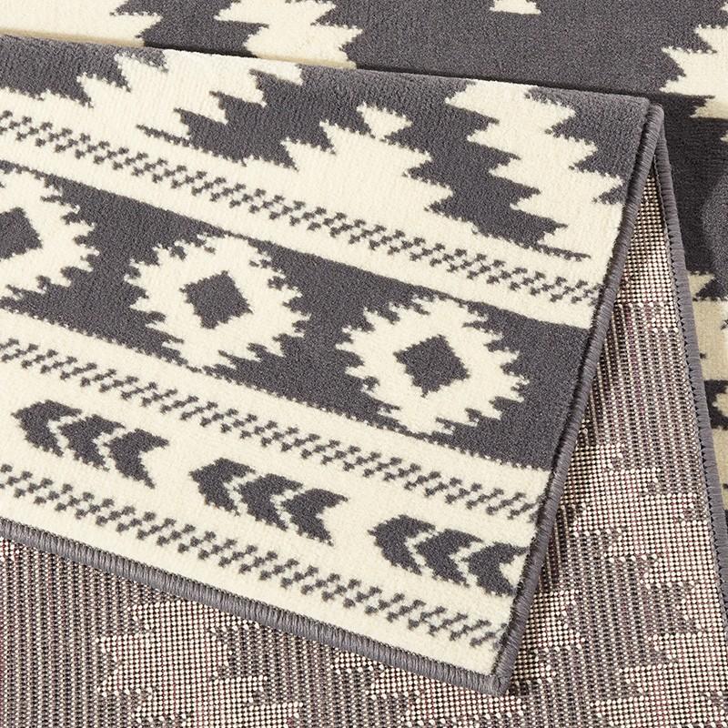 designer velours teppich ethno grau creme 102410 teppiche kurzflor teppiche design teppiche. Black Bedroom Furniture Sets. Home Design Ideas