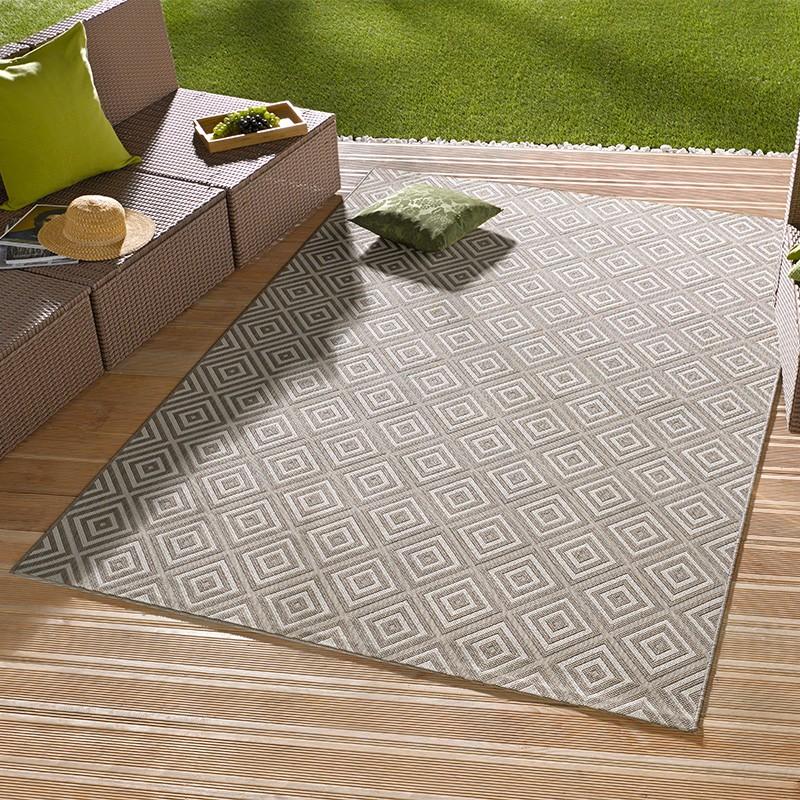 in outdoorteppich karo grau 102471 teppich boss. Black Bedroom Furniture Sets. Home Design Ideas