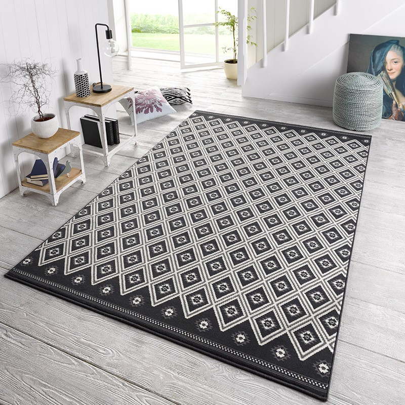 designer velours teppich karree schwarz grau teppiche kurzflor teppiche capri collection. Black Bedroom Furniture Sets. Home Design Ideas
