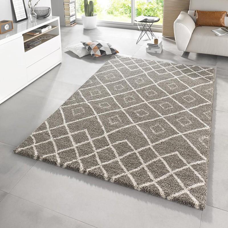 design hochflor teppich maison taupe creme ebay. Black Bedroom Furniture Sets. Home Design Ideas