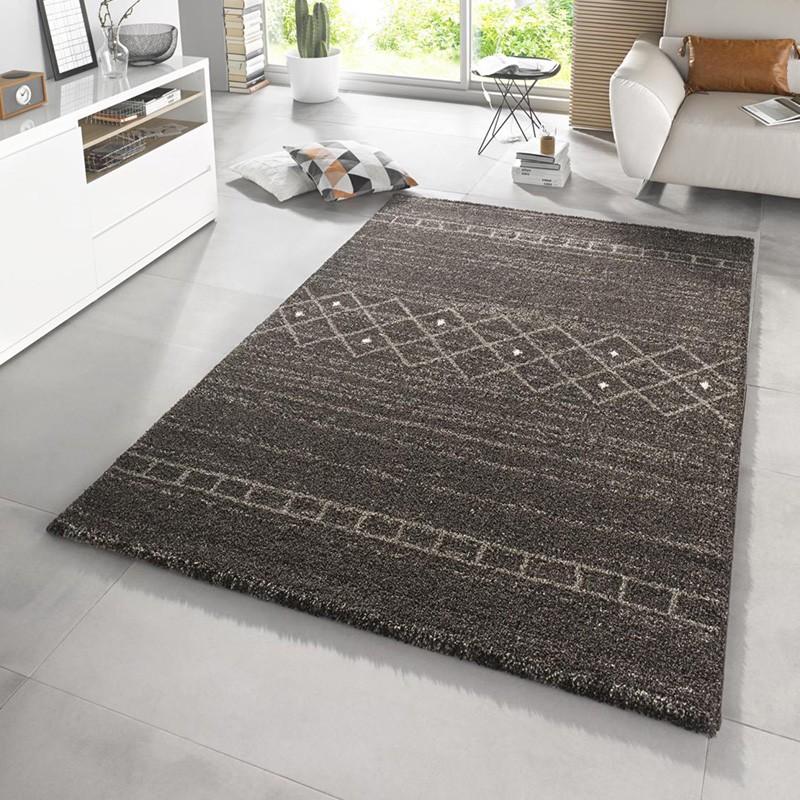 Design Hochflor Teppich Shade Taupe Braun Grau
