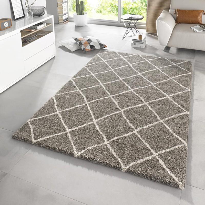 Design Hochflor Teppich Diva Taupe Teppich Boss