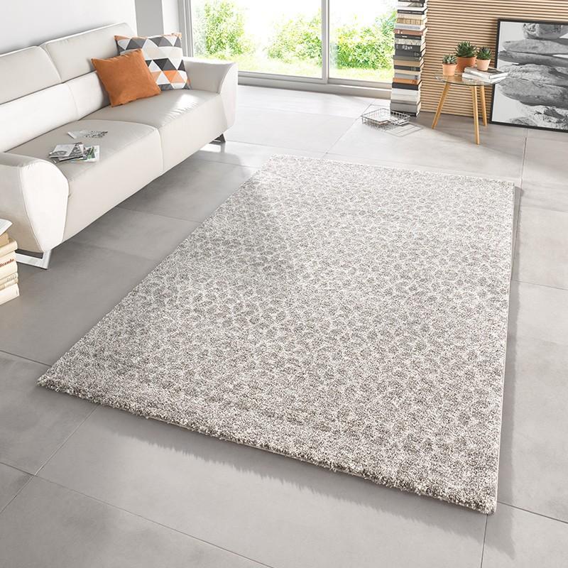 Design Velours Teppich Hochflor Impress Grau Taupe Creme Teppich Boss