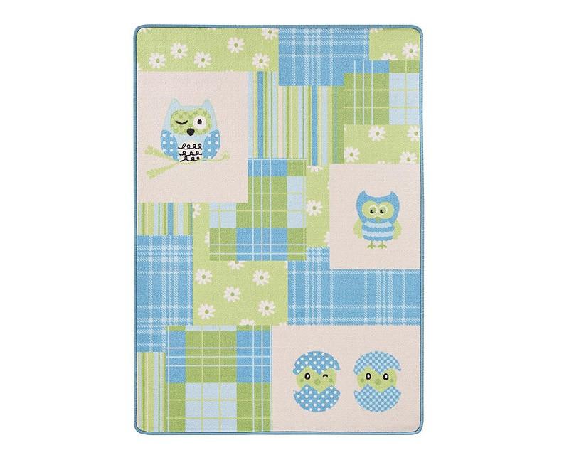 Kinderteppich eule grün  Design Kinderteppich Eule blau grün 100x140 cm Spiel- und ...