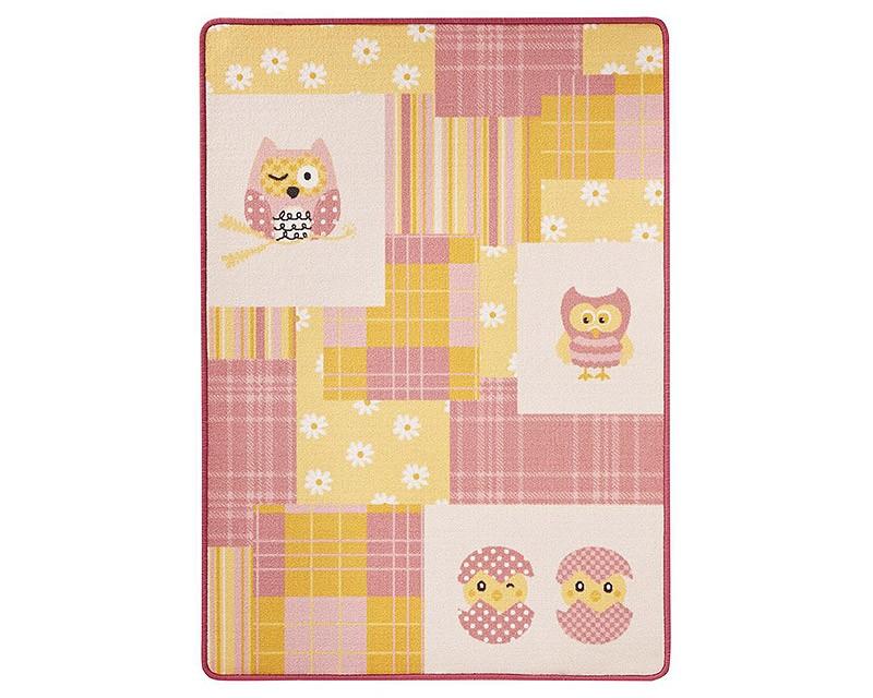Kinderteppich eule rosa  Design Kinderteppich Eule rosa gelb 100x140 cm Spiel- und ...