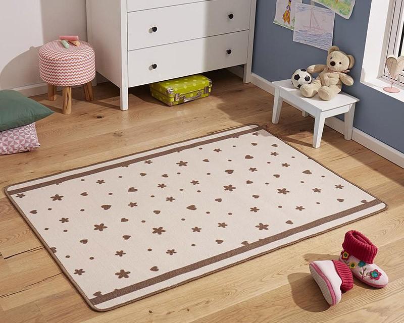 Kinderzimmer sterne beige  Design Kinderteppich Sterne und Herzen braun 100x140 cm ...