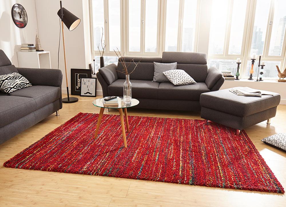 Design Teppich Hochflor Chic Meliert Rot Teppich Boss
