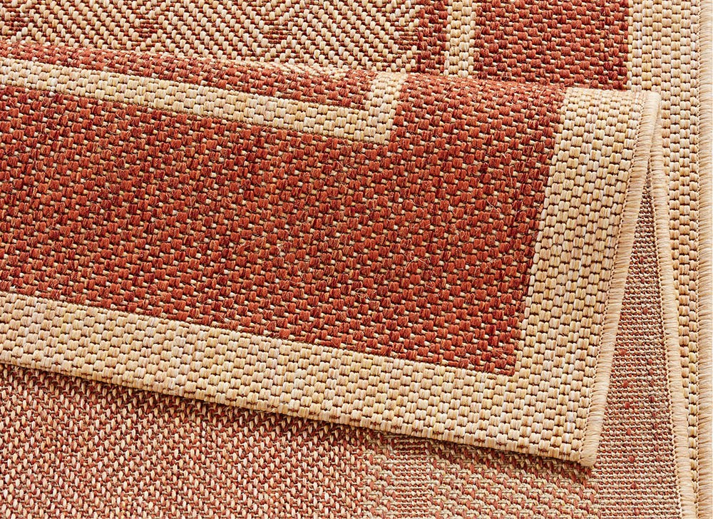 design teppich flachgewebe classy mit bord re flechtoptik terracotta sisal look ebay. Black Bedroom Furniture Sets. Home Design Ideas
