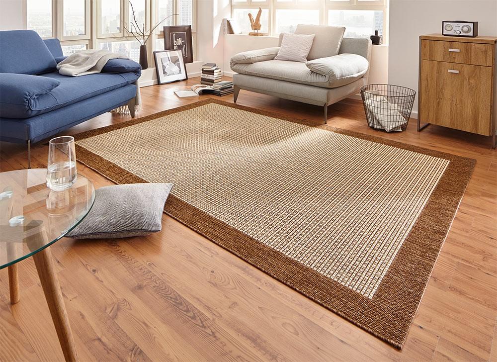 design teppich flachgewebe simple mit bord re braun. Black Bedroom Furniture Sets. Home Design Ideas