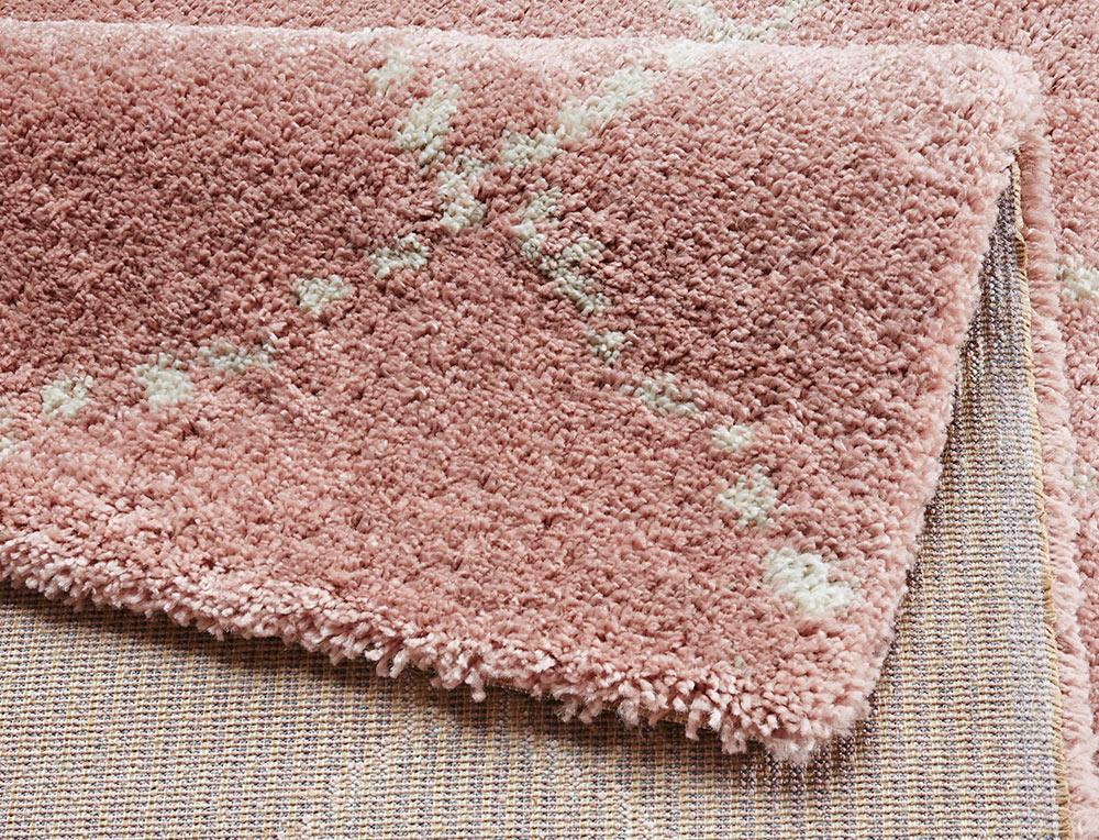 design velours teppich hochflor hash rosa creme teppiche. Black Bedroom Furniture Sets. Home Design Ideas