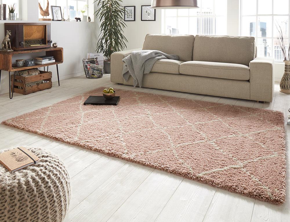 design velours teppich hochflor hash rosa creme. Black Bedroom Furniture Sets. Home Design Ideas