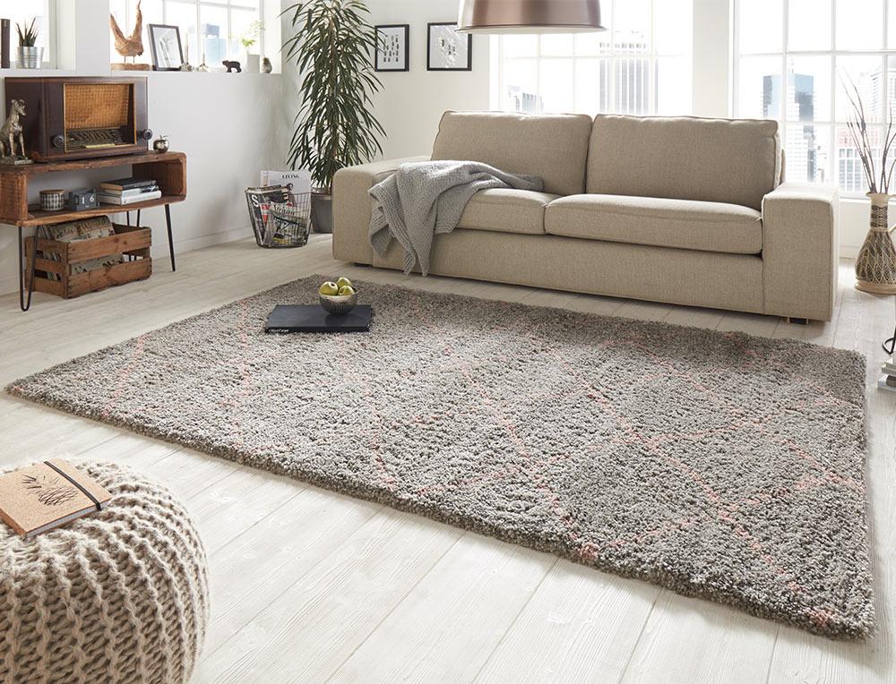 design velours teppich hochflor hash grau rosa. Black Bedroom Furniture Sets. Home Design Ideas