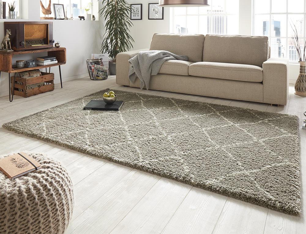 design velours teppich hochflor hash grau creme teppich boss. Black Bedroom Furniture Sets. Home Design Ideas