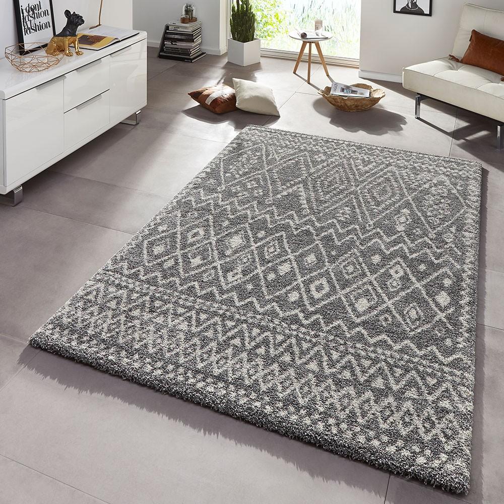 Design Teppich Hochflor Langflor Inka Gemustert Grau Teppich Boss