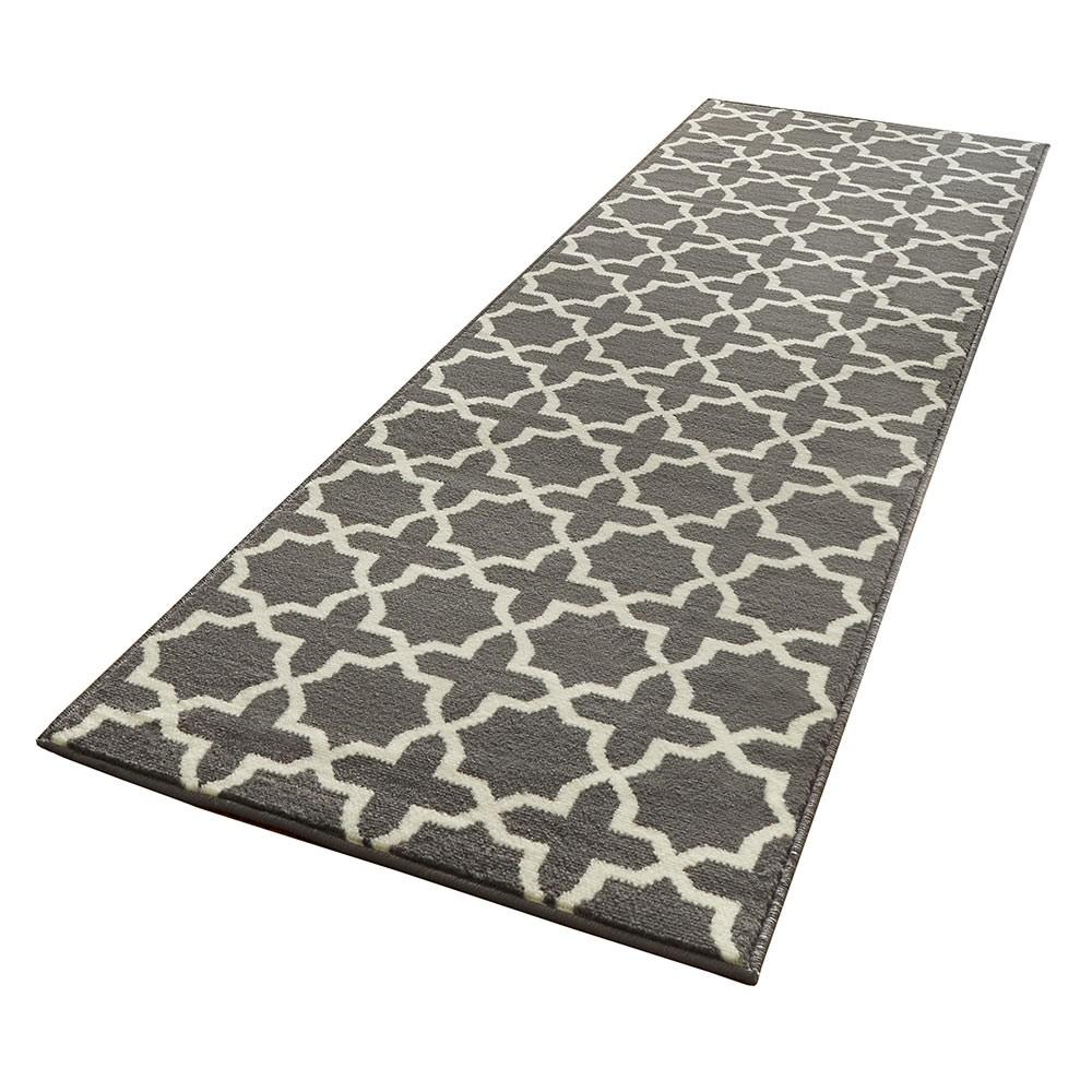 design velours teppichl ufer br cke glam grau creme l ufer. Black Bedroom Furniture Sets. Home Design Ideas