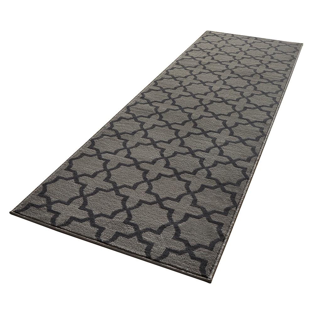 design velours teppichl ufer br cke teppich diele flur kurzflor glam grau ebay. Black Bedroom Furniture Sets. Home Design Ideas
