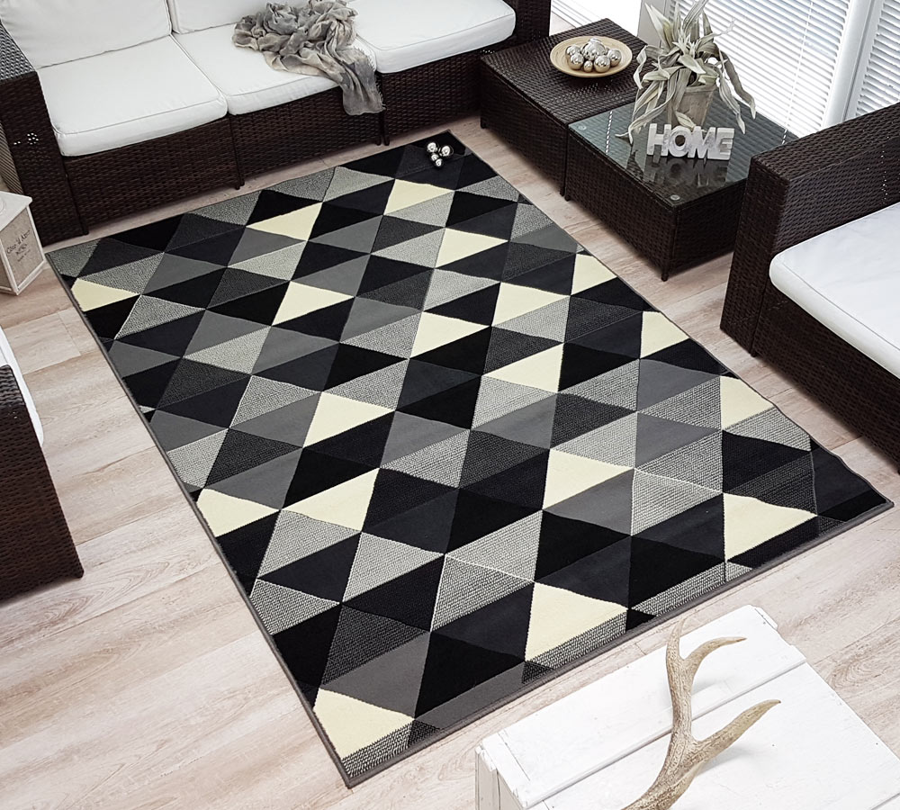 design velours poils ras tapis charisme triangles noir gris cr me ebay. Black Bedroom Furniture Sets. Home Design Ideas