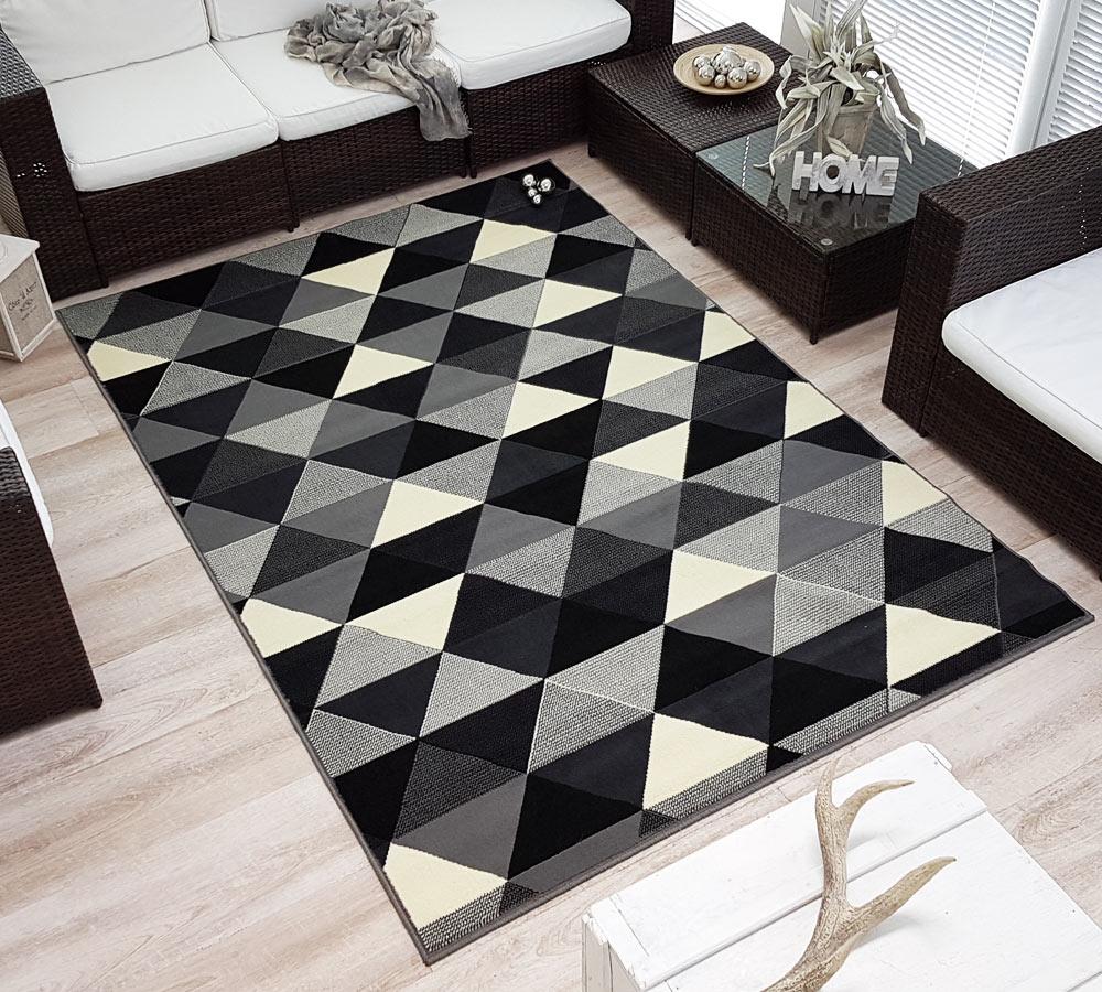 design velours poils ras tapis charisme triangles noir gris cr me ebay. Black Bedroom Furniture Sets. Home Design Ideas