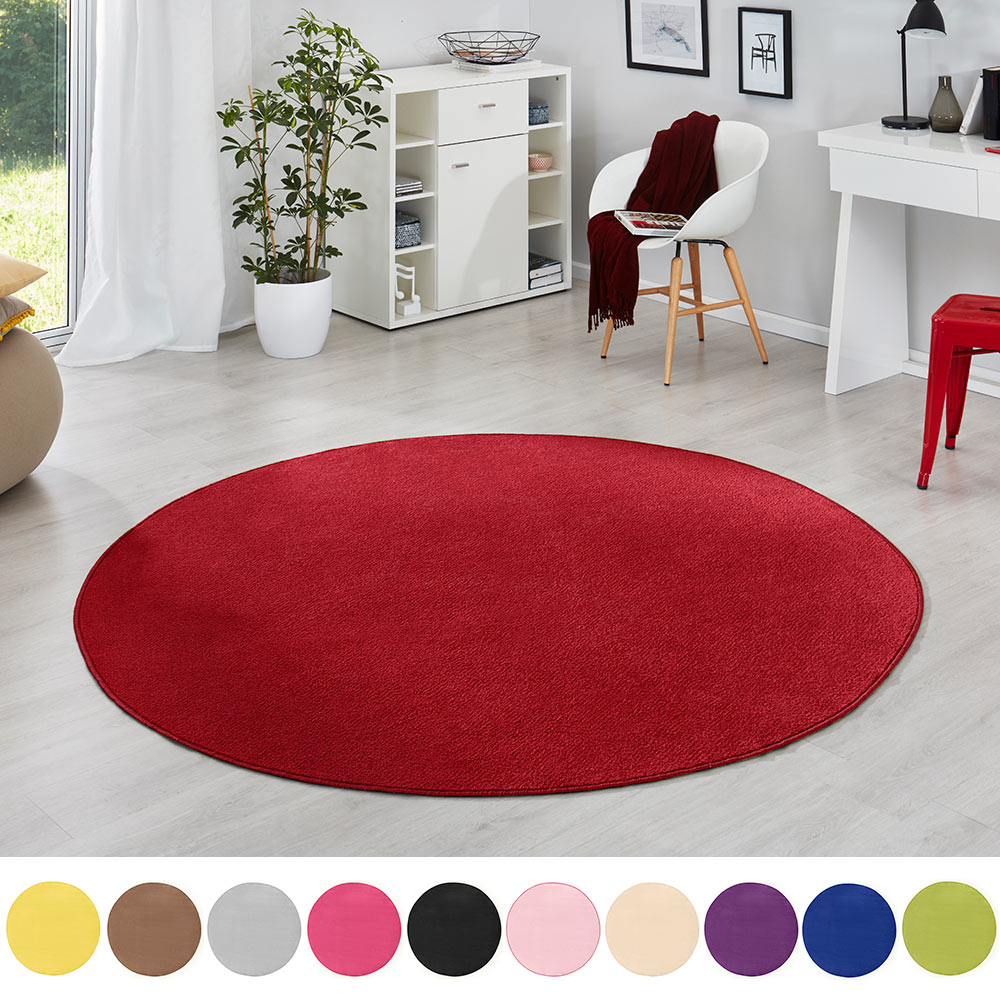 runder kurzflor teppich uni fancy rund teppichboss webshop. Black Bedroom Furniture Sets. Home Design Ideas