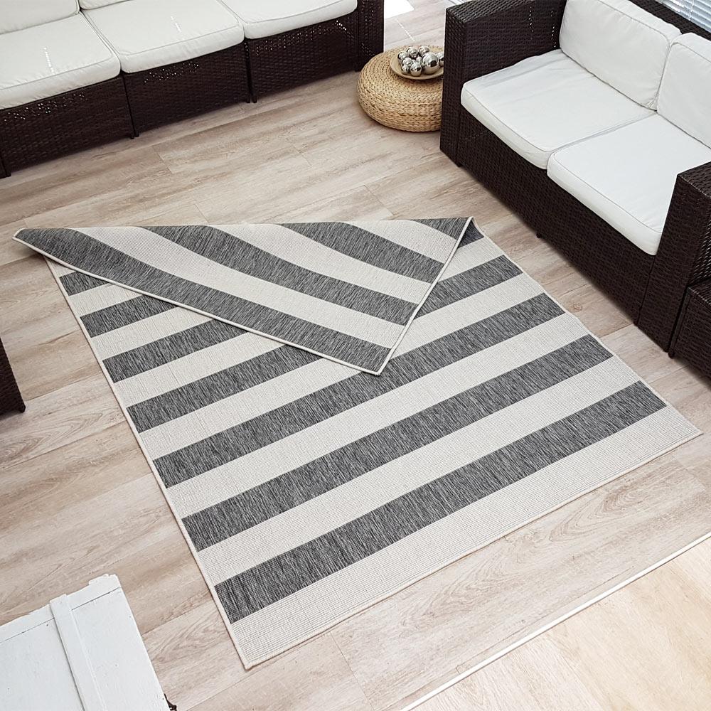 wendeteppich streifen in outdoorteppich webteppich sisal optik modern ebay. Black Bedroom Furniture Sets. Home Design Ideas