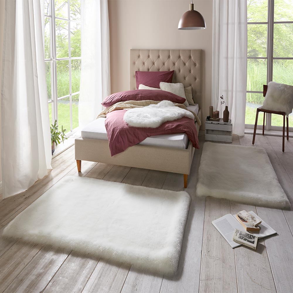 weicher kunstfell teppich bettumrandung superior uni white cremewei 2x 90x140 cm teppich boss. Black Bedroom Furniture Sets. Home Design Ideas