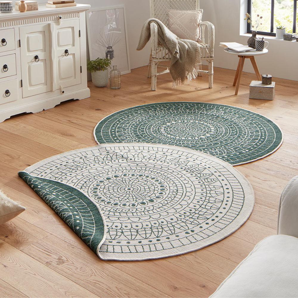 wendeteppich rund porto creme gr n in outdoor teppich boss. Black Bedroom Furniture Sets. Home Design Ideas