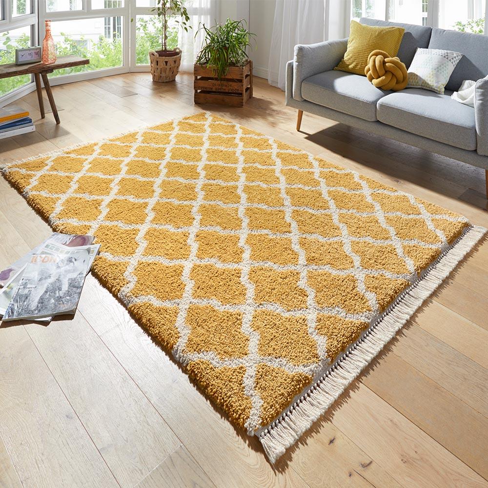 design teppich hochflor pearl gold creme mit fransen teppichboss webshop. Black Bedroom Furniture Sets. Home Design Ideas