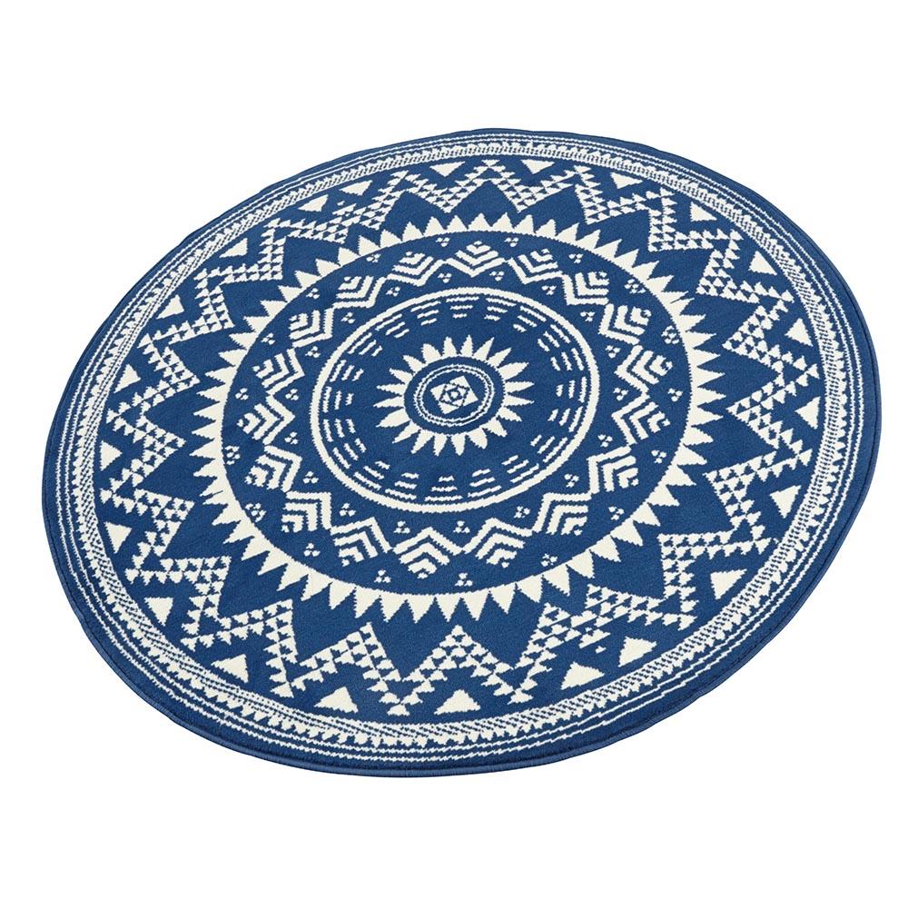 Designer Velours Teppich Valencia Blau Creme Rund