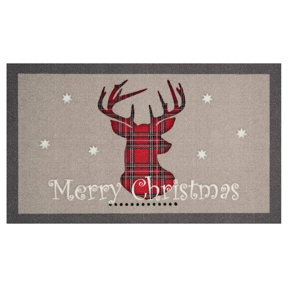 Fußmatte Schmutzfangmatte Merry Christmas Reindeer Grau Rot 45x75 cm ...