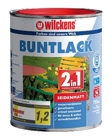 WILCKENS Buntlack 2in1 FEUERROT RAL 3000 SEIDENMATT 125 ml