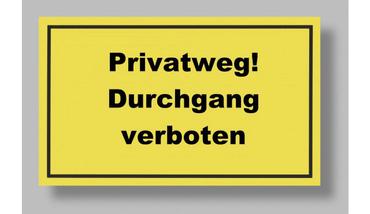 Metafranc Schild Privatweg! 250x150 mm, Kunststoff, gelb
