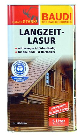 BAUDI Langzeit Holzlasur NUSSBAUM 5 Liter UV-beständig atmungsaktiv