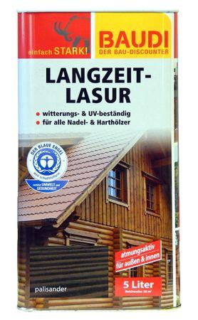 BAUDI Langzeit Holzlasur 5 Liter PALISANDER UV-beständig atmungsaktiv