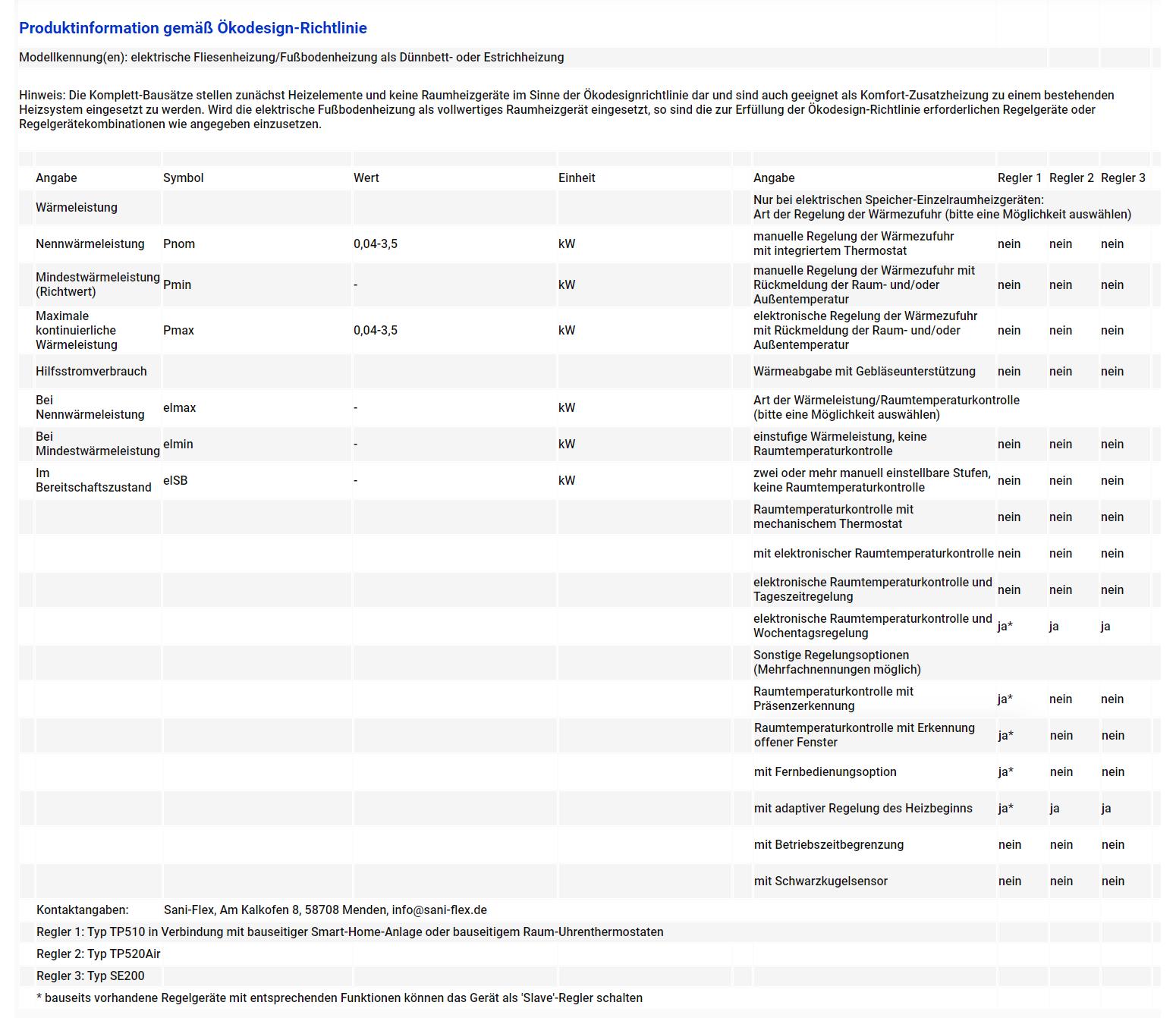 Produktinformation gemäß Ökodesign-Richtlinie